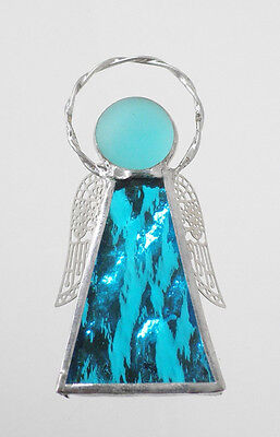 Leadlight Stained Glass Aqua Angel Halo Silver wings handmade in Australia