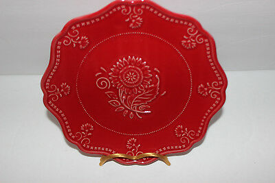 "Vera Bradley By Sadek Willfred My Home Berry Red 8 1/4"" Scalloped Plate"