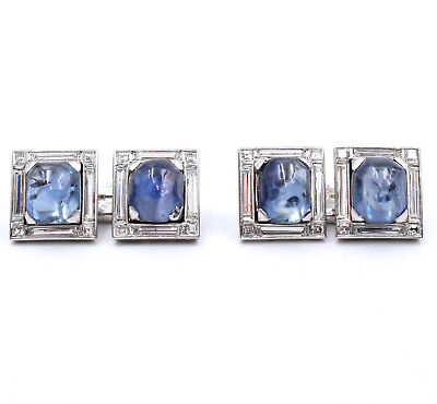 Natural Diamond And Sapphire Cufflinks Made In 18K White Gold, Signed By Brevet
