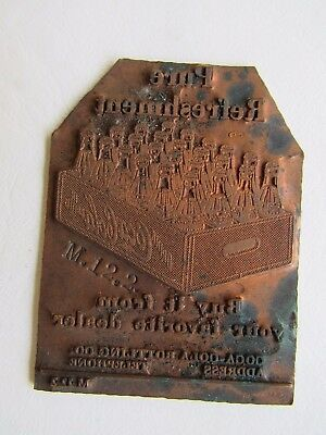 "Coca Cola Copper Plated Printing Plate ""Pure Refreshment"""