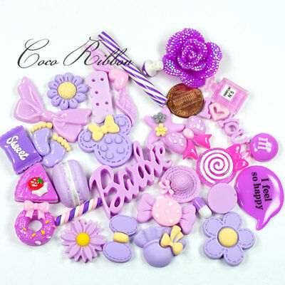 30 Pieces Mixed Purple Lavender Kawaii Resin Candy Cabochon Deco Decoden K04