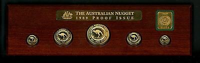1989 Australian Nugget 5 Piece Gold Proof Set w Privy (Total 2.1 oz AGW) Oceania