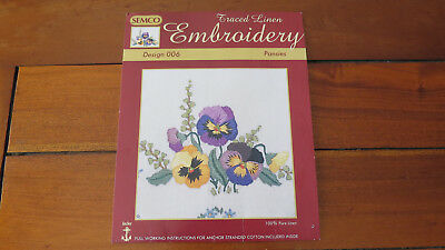 Semco Traced 100% Pure Linen **PANSIES** Table Runner to Embroider...as new...