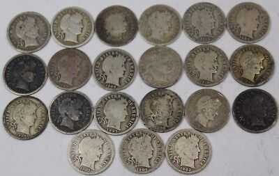 Lot of 21 Silver Barber Dimes Dated 1892 to 1916 90% Silver Item #2