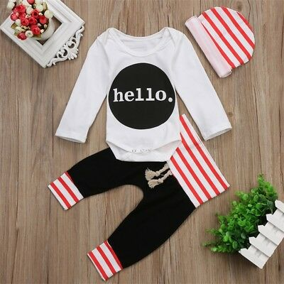 US Cotton Newborn Toddler Baby Girl Boy Clothes Romper Bodysuit+Hat Pants Outfit