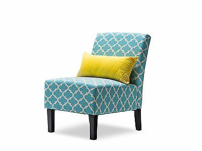 Tiffany Blue Teal Chic Fabric Accent Chair - Occasional Arm Lounge Chair