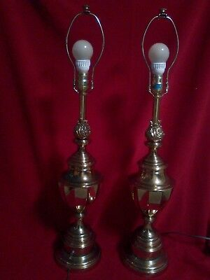 Vintage PAIR Stiffel Brass Trophy Lamps Flame Top Hollywood Regency Neoclassical