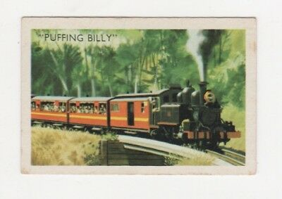 Australian Transport Trade card: Railways - Steam train Puffing Billy