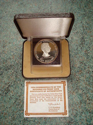1978 Proof Silver $10 Bahamas 5th Anniversary Of Independence