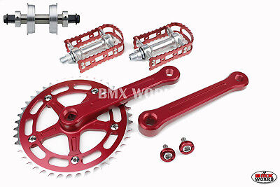 ProMX BMX 3 Piece Aluminium Cranks Set Red with MKS BM-7 Pedals & Bottom Bracket