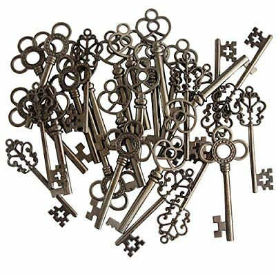NEW 30 Key Set Skeleton Keys Antique Vintage Style Large Gunmetal Black Finish