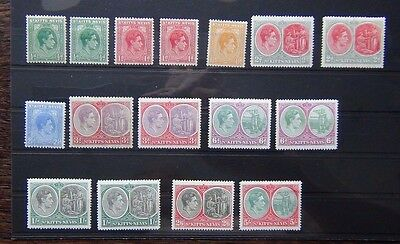 St Kitts Nevis 1938 - 50 values to 5s MM