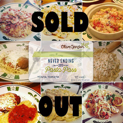 Olive Garden PASTA PASS Unlimited All You Can Eat Pasta Soup Bread 2017 OG FOOD