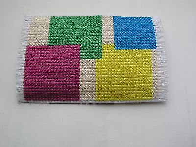 Dolls house rug cross stitch purple green yellow and blue squares with tan