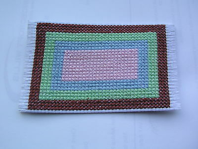 Dolls house rug cross stitch brown green blue and pink