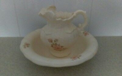 Large ceramic wash bowl and jug - from 1980's