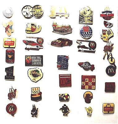 LOT OF 36 VINTAGE McDONALDS  LAPEL PINS - VERY GOOD CONDITION