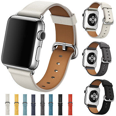 Genuine Leather Watch Strap Bracelet Wrist Band For Apple Watch 1/2/3 38/42mm