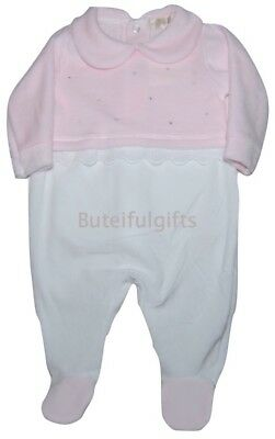 Baby Girls Spanish Style Pink Velour Diamante All in One Romper Mintini Baby