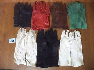 Excellent Job Lot of 7 Pairs of Ladies Vintage Kid Leather Gloves