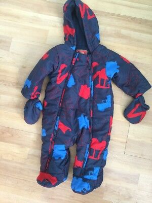 Marks & Spencers Baby Boys Winter Snowsuit 3-6 Months Fleece Lined, Diggers,