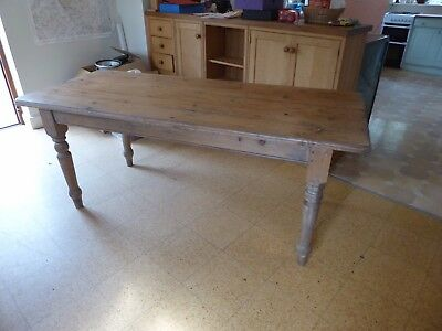 Solid Pine Wood  Table Kitchen Farmhouse Style Seats 6