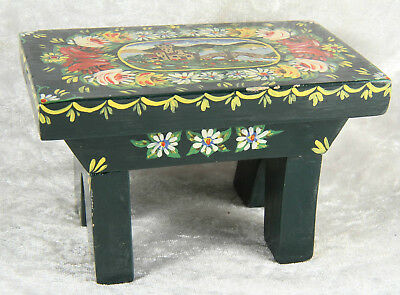 Wooden table painted with gyspy art 2.5 inches tall dolls house item collectable