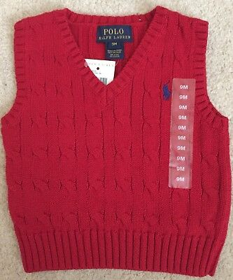 BNWT Ralph Lauren Baby Boy 9 Months Cable-Knit Sweater Vest Autumn Winter