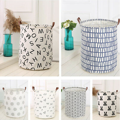 50x40cm Baby Kids Toy Canvas Laundry Basket Storage Bags With Leather Handbag