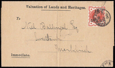 SGO13 1890 1/2d. I.R Official on printed wrapper, Cupar-Fife to Markinch. 321345