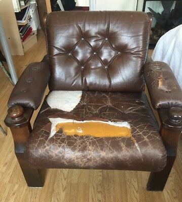 Vintage Danish Midcentury Leather Armchair For Reupholstery