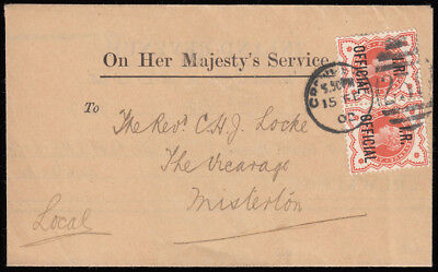 SGO13 1902 1/2d. I.R Official pair, paying the sealed envelope rate. 321356