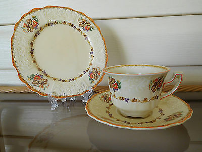 Myott Staffordshire Blueberry Trio 2909 Made In England 1930s