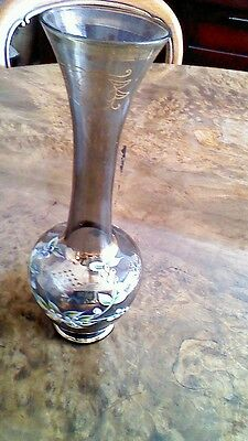 Vintage glass enameled vase #