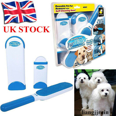 UK Hurricane Fur Wizard Pet Hair & Lint Remover Magic Clear Cloth Brush Cleaner