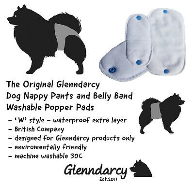 Glenndarcy Washable Waterproof Base Popper Pads for Dog Nappy & Belly Band
