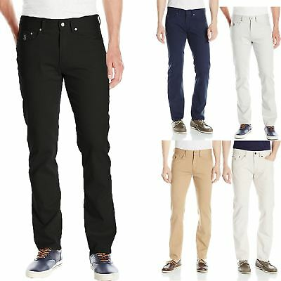 Mens US Polo Assn Designer Chino Stretch Skinny Slim Fit Straight Trousers Jeans