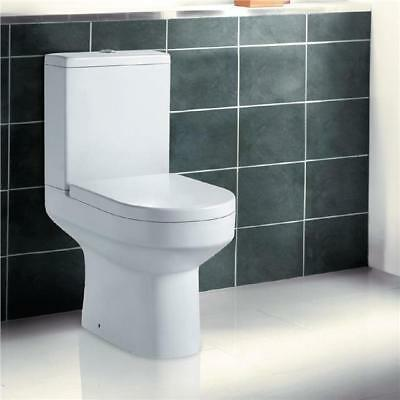 Toilet WC Close Coupled Pan Bathroom Cloakroom Soft Close Seat White Ceramic