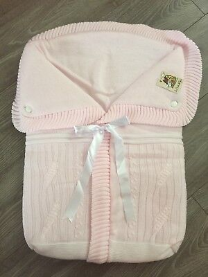 Gorgeous Knitted Pink Pram Cosey Liner