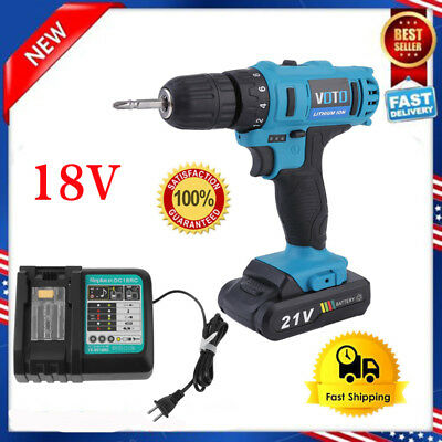 "18V Lithium-Ion Cordless Hammer Driver-Drill 1/4"" Hex Hand Power Tool W/ Charger"