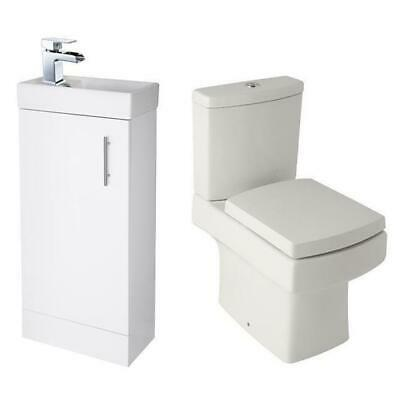 Cloakroom Suite Square Vanity Unit Designer Toilet Soft Close Seat Waterfall Tap