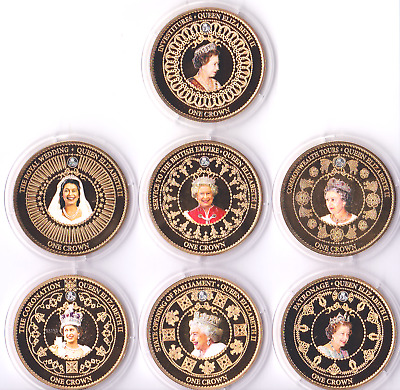 2015 Gold Plated Picture Coins Queen Elizabeth II Commemorative Crowns + Capsule