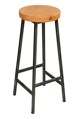 'Bertie Broadoak' Steel Frame Industrial Bar Stool with Chunky Oak Seat