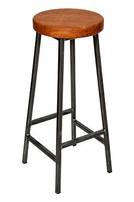 'Bertie Broadoak-Brown' Steel Frame Industrial Bar Stool with Brown Oak Seat