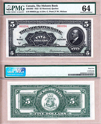 Beautiful Note: The Molsons Bank 1922 $5.  Strict PMG Choice UNC64 Condition