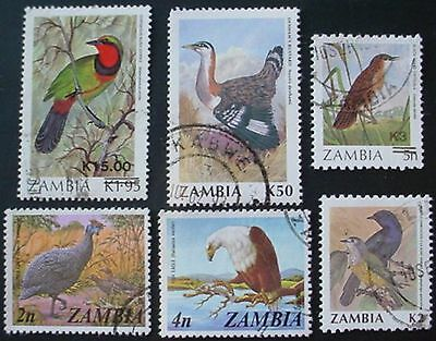 Zambia: Birds: Collection Of 6 Used Stamps
