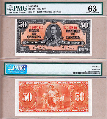 1937 $50 KGVI Bank of Canada PMG CHOICE UNC63; Gordon & Towers BC-26b