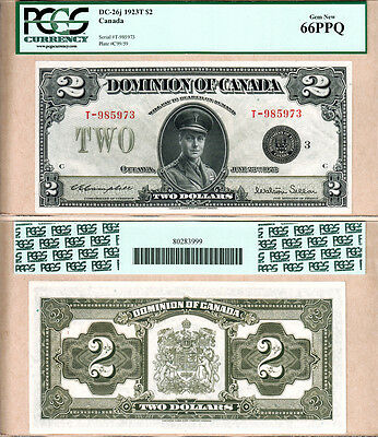 Tied Finest Known: GEM UNC 66 PPQ $2 1923 Dom of Canada DC-26j Prince of Wales