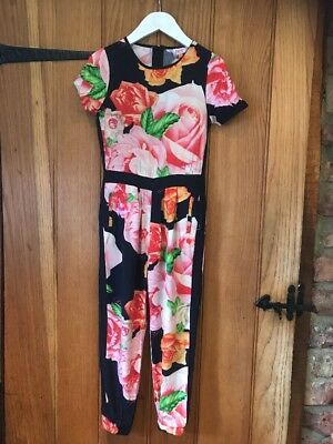 Ted Baker Lovely Girls Floral  All In One Jump Suit Age 6-7yrs In Excellent