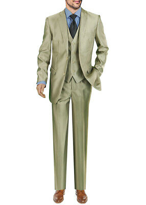 Darya Trading Modern Fit Two Button Three Piece Mens Suit With Vest